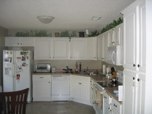What Do You Put On Top Of Kitchen Cabinets Whats on top of your kitchen cabinets?   Home Decorating Forum