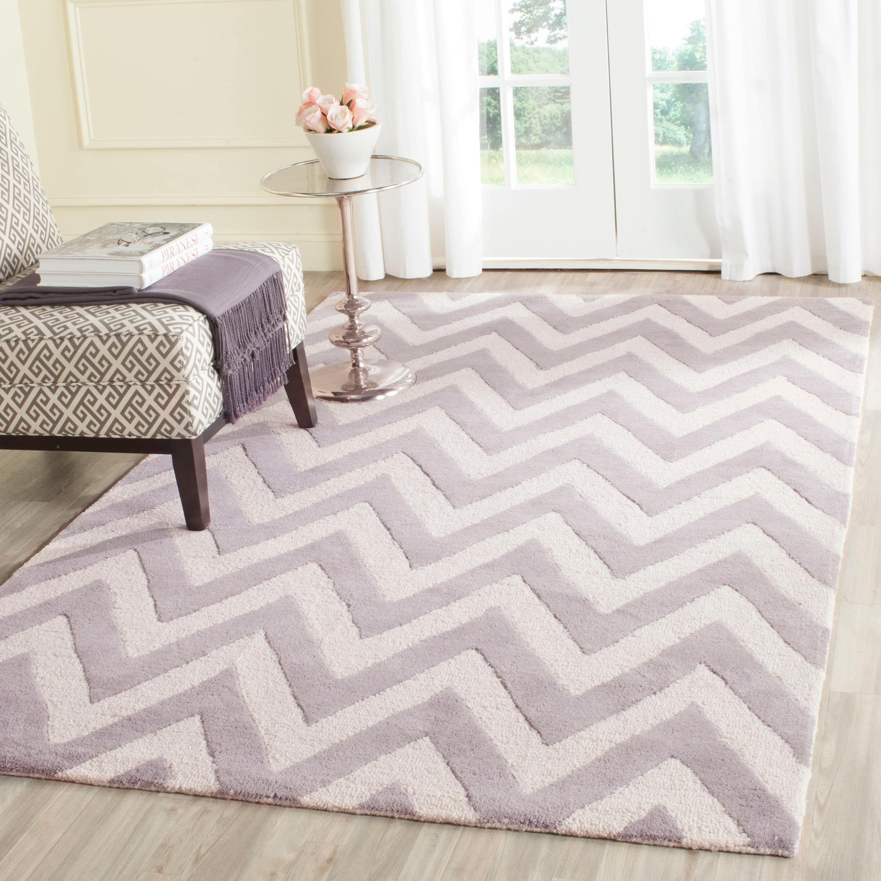 Purple and Silver area Rugs