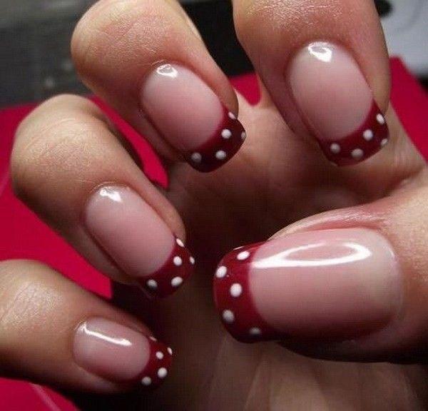 40 + hübsche Tupfen-Nagel-Entwürfe   Rote fingernägel