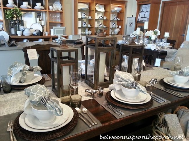 Pottery Barn Table Setting #Lauren Grey runner and napkins with white dishes and lanterns. Pretty!