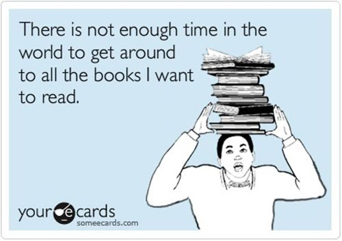 Image result for too many books ecard