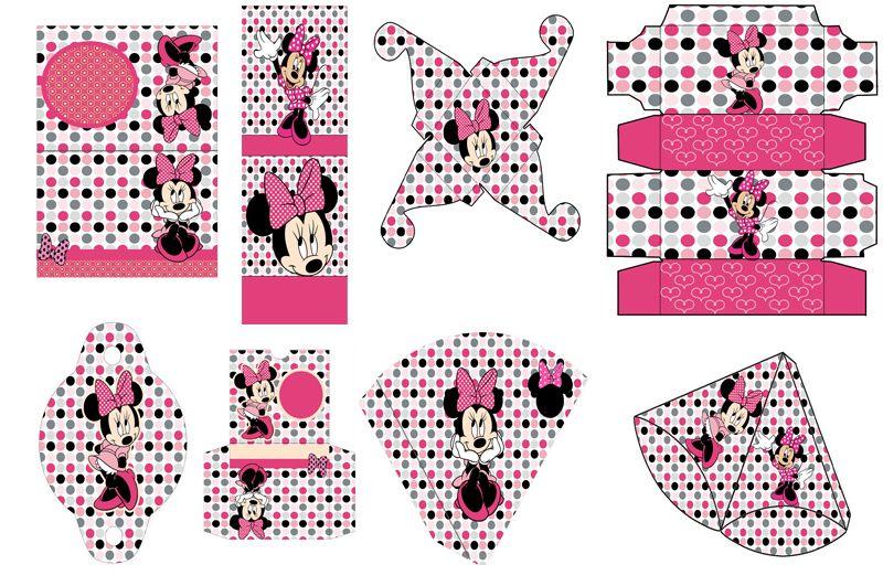 set Imprimible De Minnie Mouse Rosada 90 Plantillas Cnv13 ...