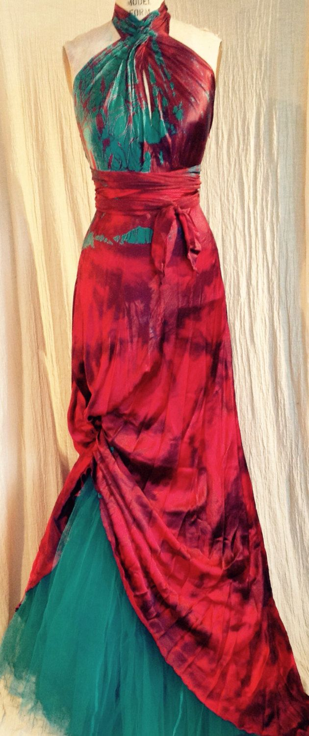 c848ca459d70e Red silk wedding dress with the teal flash boho chic bridal gown