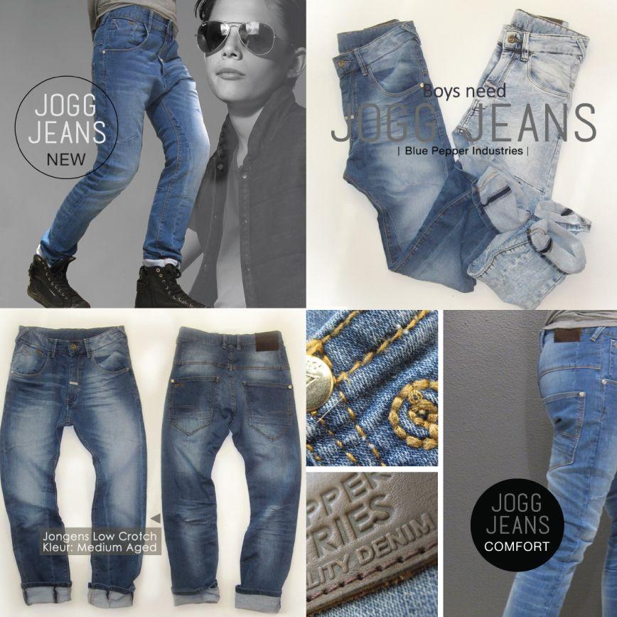 #joggjeans voor #jongens - Low Crotch voor alle seizoenen-kleuren Medium Aged & Light Aged - #onlineshopping #bluepepper www.bluepepperindustries.com