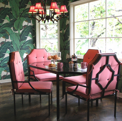 Nicky Hiltons Pink Chairs And Chandelier Shades Pop Against Her Martinique Banana Leaf Wallpaper