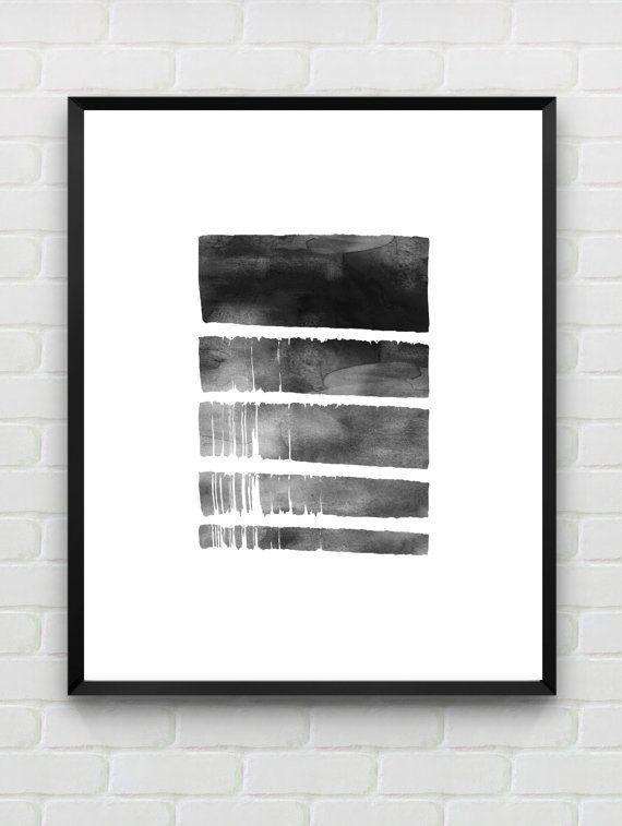 Printable Art Watercolor Art Print, Geometric Wall Art, Minimalist Poster Scandinavian Print Black White Wall Art INSTANT DOWNLOAD Home Art