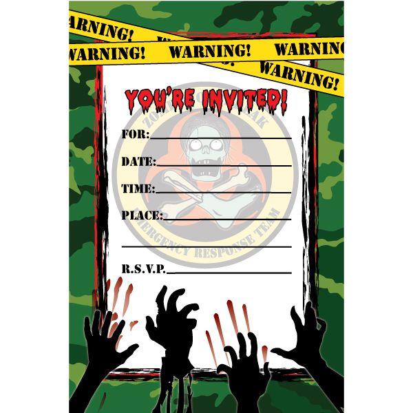 Zombie Hunter Fill In Invitations 16ct Zombie Birthday