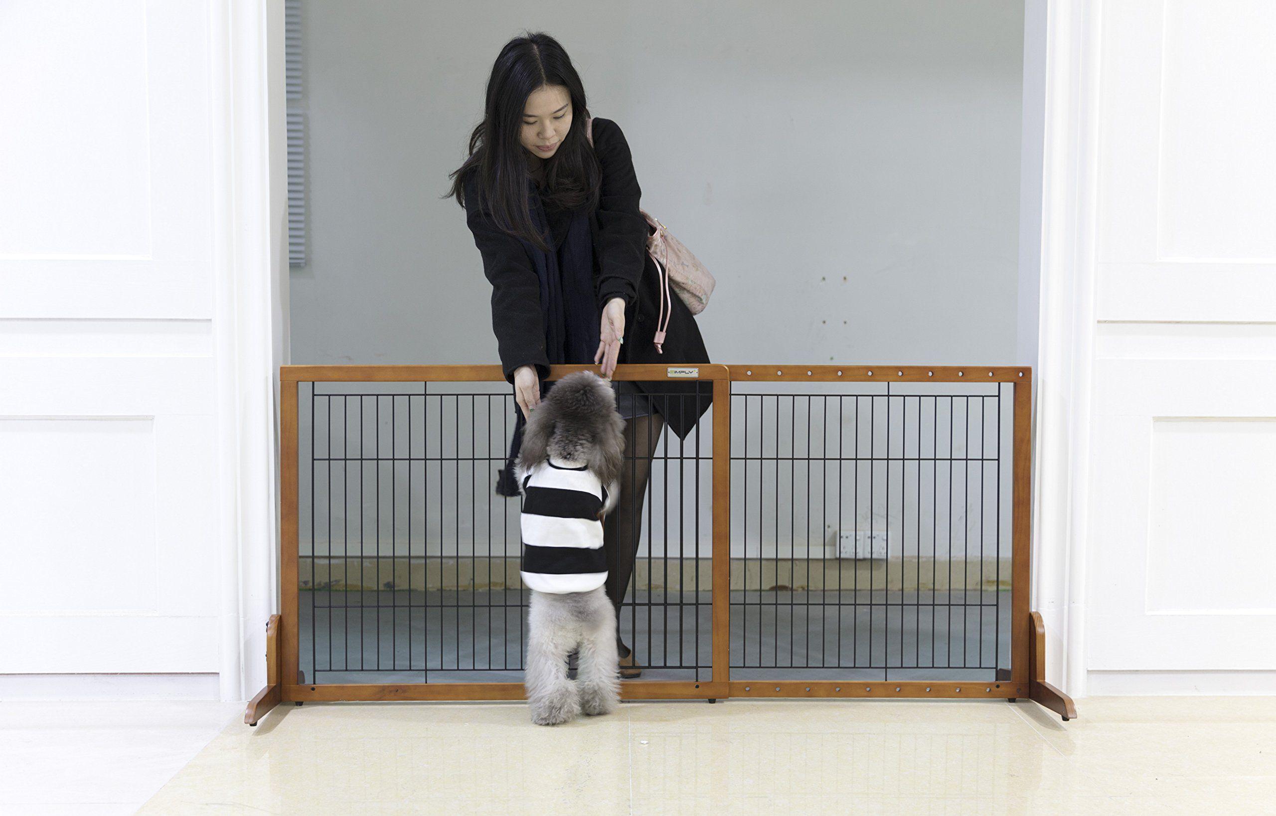 Simply Plus Wooden Pet Gate No Door Freestanding Pet Dog Gate For Indoor Home And Office Use Keeps Pets Safe Easy Set Up No Tools Dog Gate Pet Gate Pet Safe