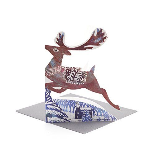 3d leaping reindeer greetings card a 3 50 v a shop christmas