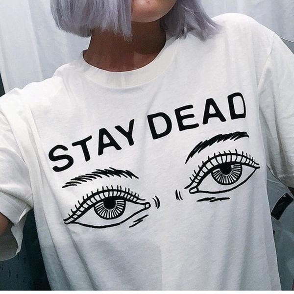 Women S Summer T Shirt New Fashion Printed Stay Dead Letter Round