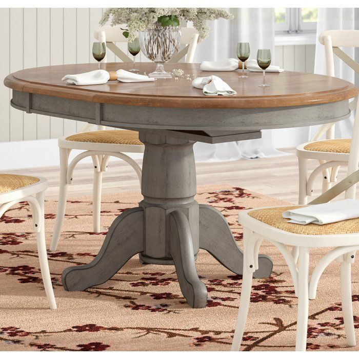 Wonderly Pedestal Extendable Solid Wood Dining Table Wood Dining Table Dining Table Makeover Solid Wood Dining Table
