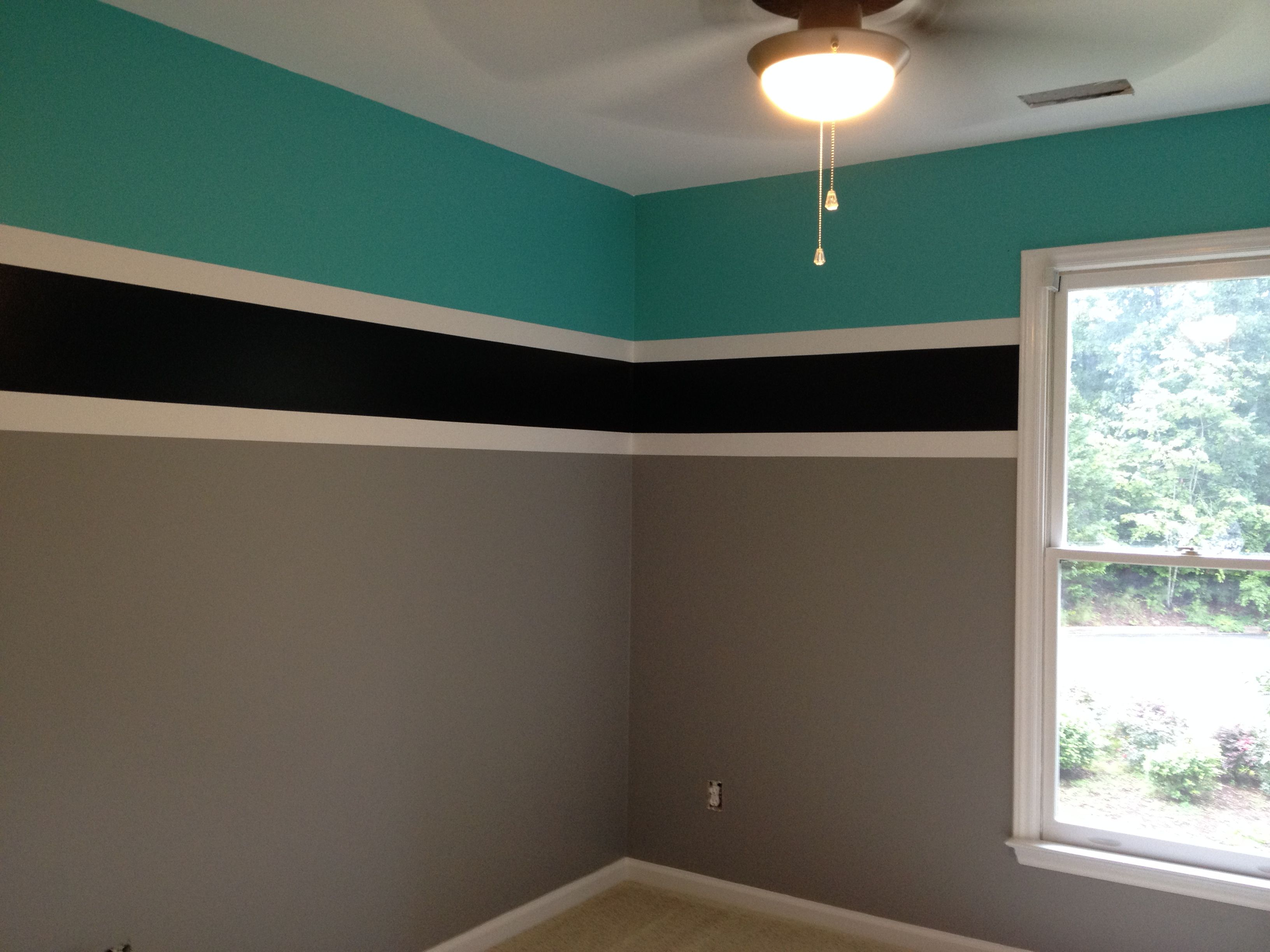 final product, teenage boys room, colors for a swimmer. Benjamin Moore Teal  tone