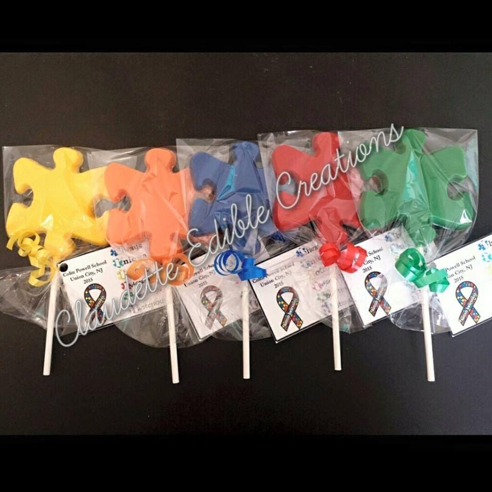 Puzzle Pieces Chocolate Lollipops Puzzle Pieces Chocolate Lollipops Puzzle Party