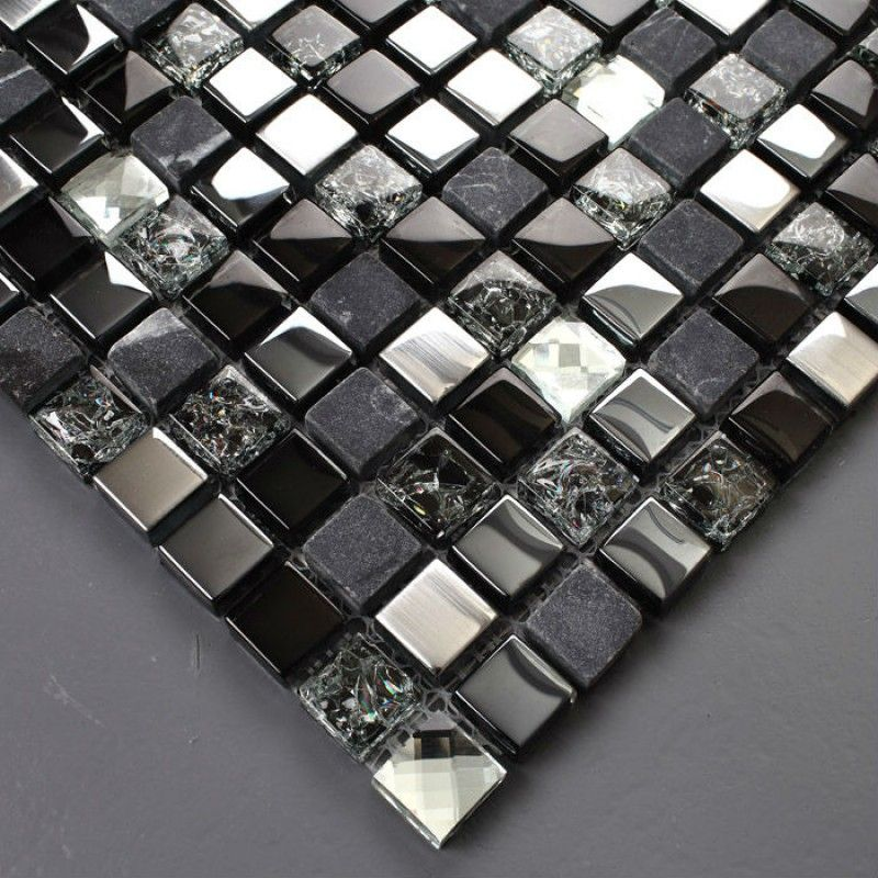 Review Expensive but really pretty TST Glass Stone Tiles Black Dark Grey Squared Grid Marble Kitchen Backsplash Inner Crack Mosaics Pictures - Contemporary black mosaic tile HD