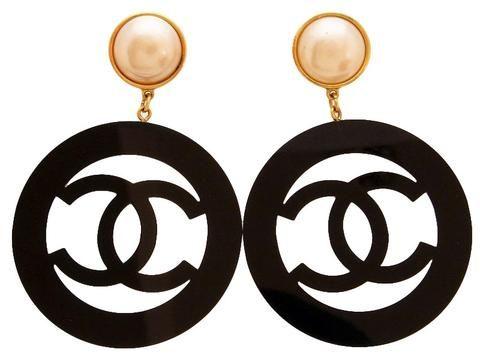 Vintage Chanel Earrings Pearl Black Cc Hoop Dangle Super Rare