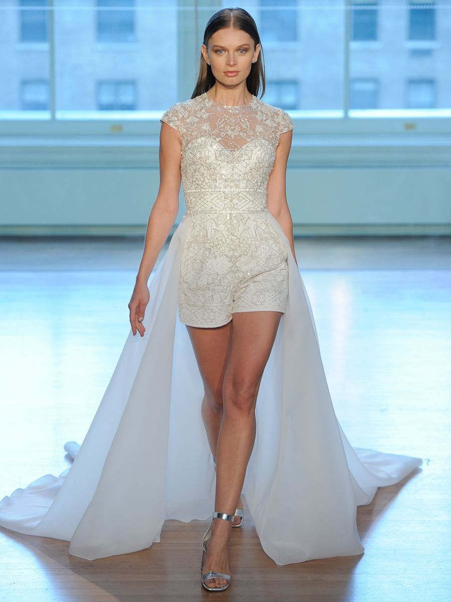 f43dc95c9b5 Justin Alexander Spring 2019 bridal romper with embroidery and tulle train