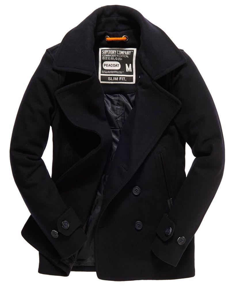 Superdry Commodity Slim Pea Coat Peacoat Men Mens Winter Fashion Mens Coats [ 1000 x 820 Pixel ]