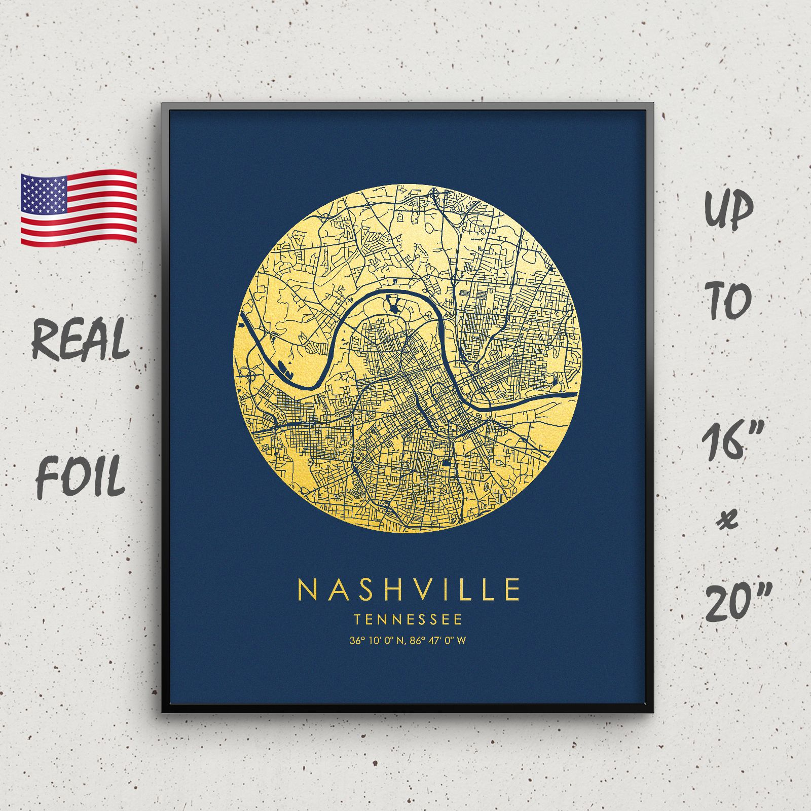 Nashville City map print for wall art decor by GoldenGraphy United