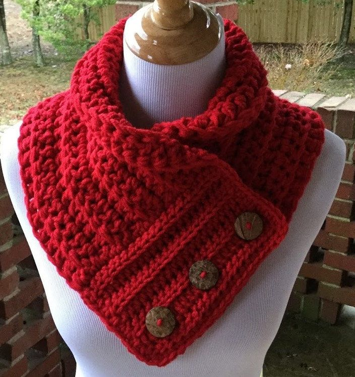 Red Crochet Cowl, Crochet Cowl, Bulky Cowl, Button Scarf, Neck ...