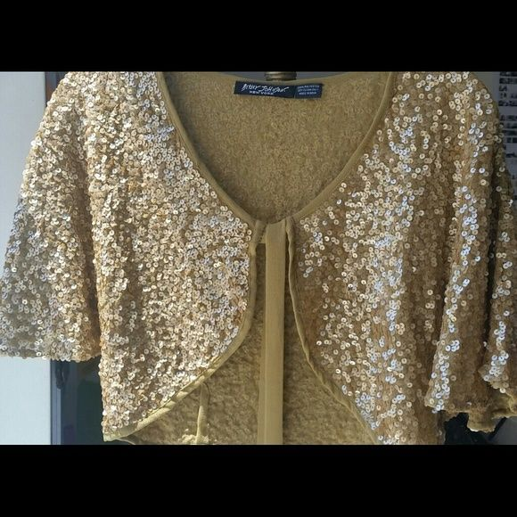 aa3d68a7161 Betsey Johnson Gold Sequin Bolero Shrug. Adorable