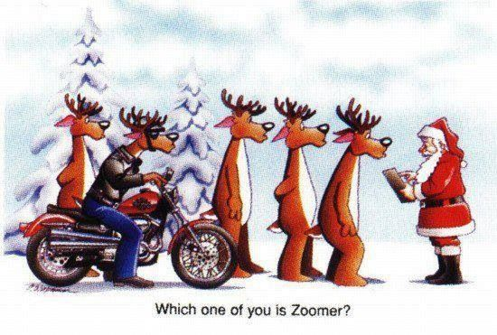 Santa And The New Reindeer Christmas Motorcycle Funny Harley