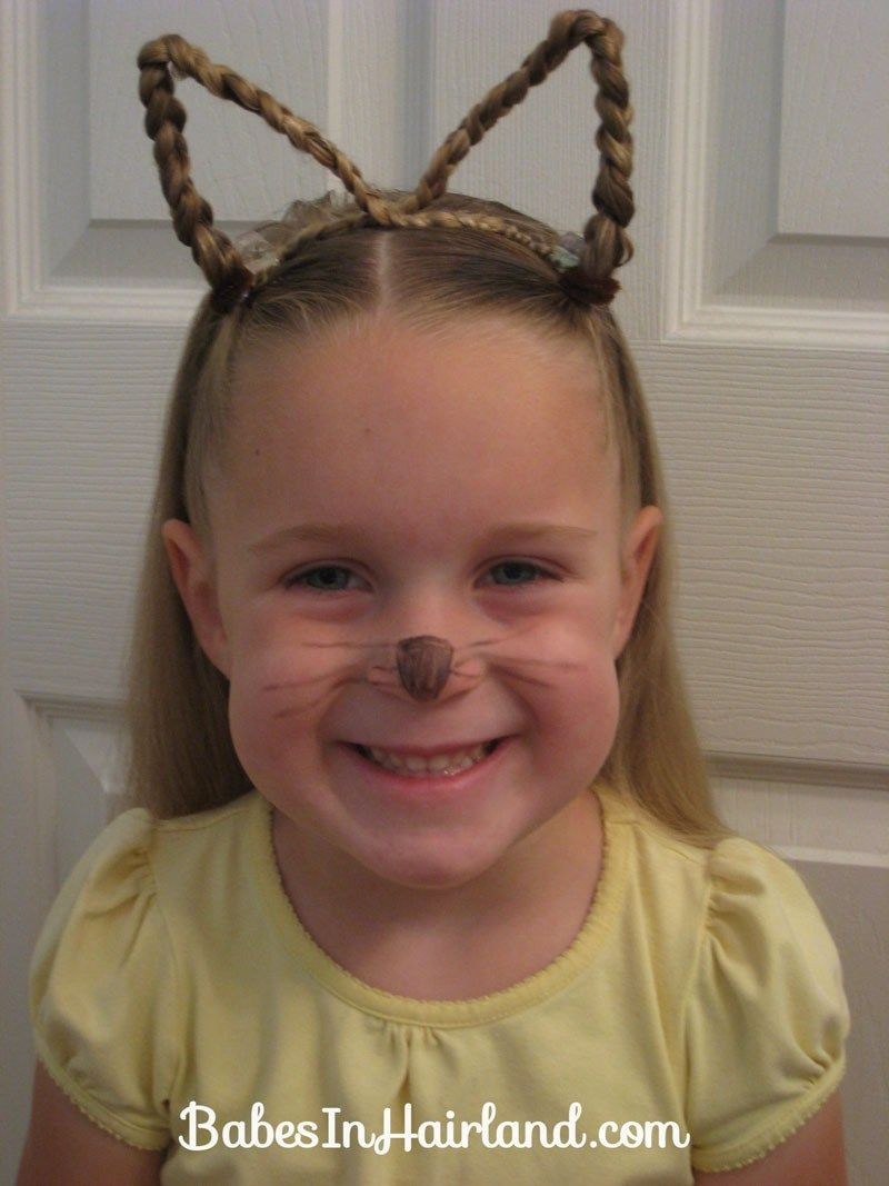 Cat ears using your own hair easy hairstyles pinterest