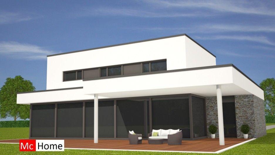 Mooie moderne kubistische woning met overdekt terras natuursteen