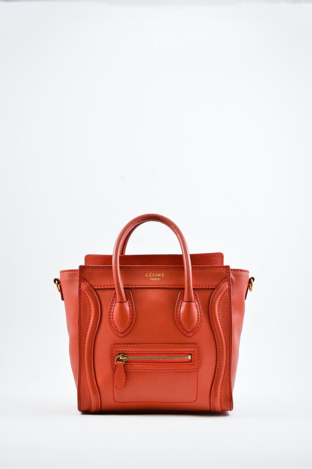 b3da6ee36365 Celine Red Nano Luggage Crossbody Bag  MineAndYours