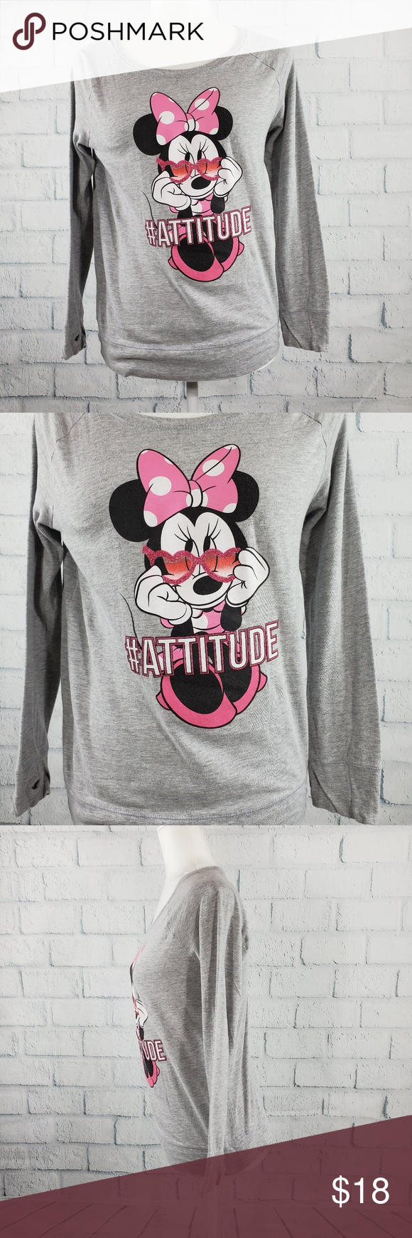 Disney Minnie Mouse  girls gray long sleeves tee Disney Minnie Mouse Attitude girls gray long sleeves tee with thumbs hole Perfect condition  Size XL 1416  Condition Like...
