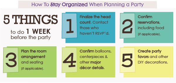Party Planning Checklist - Things to Do 1 Week Before the Party - event planning checklist ideas