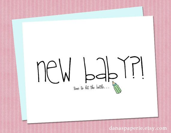 funny new baby card  card for new baby, baby shower gift card, Baby shower invitation