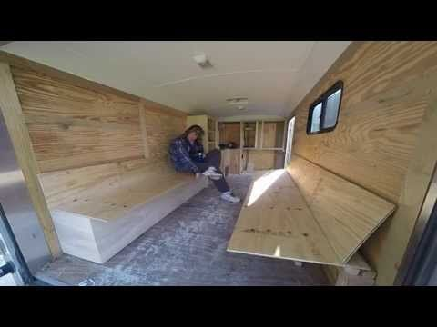 Big rich builds a toy hauler camper from a cargo trailer for 6x12 wood floor trailer