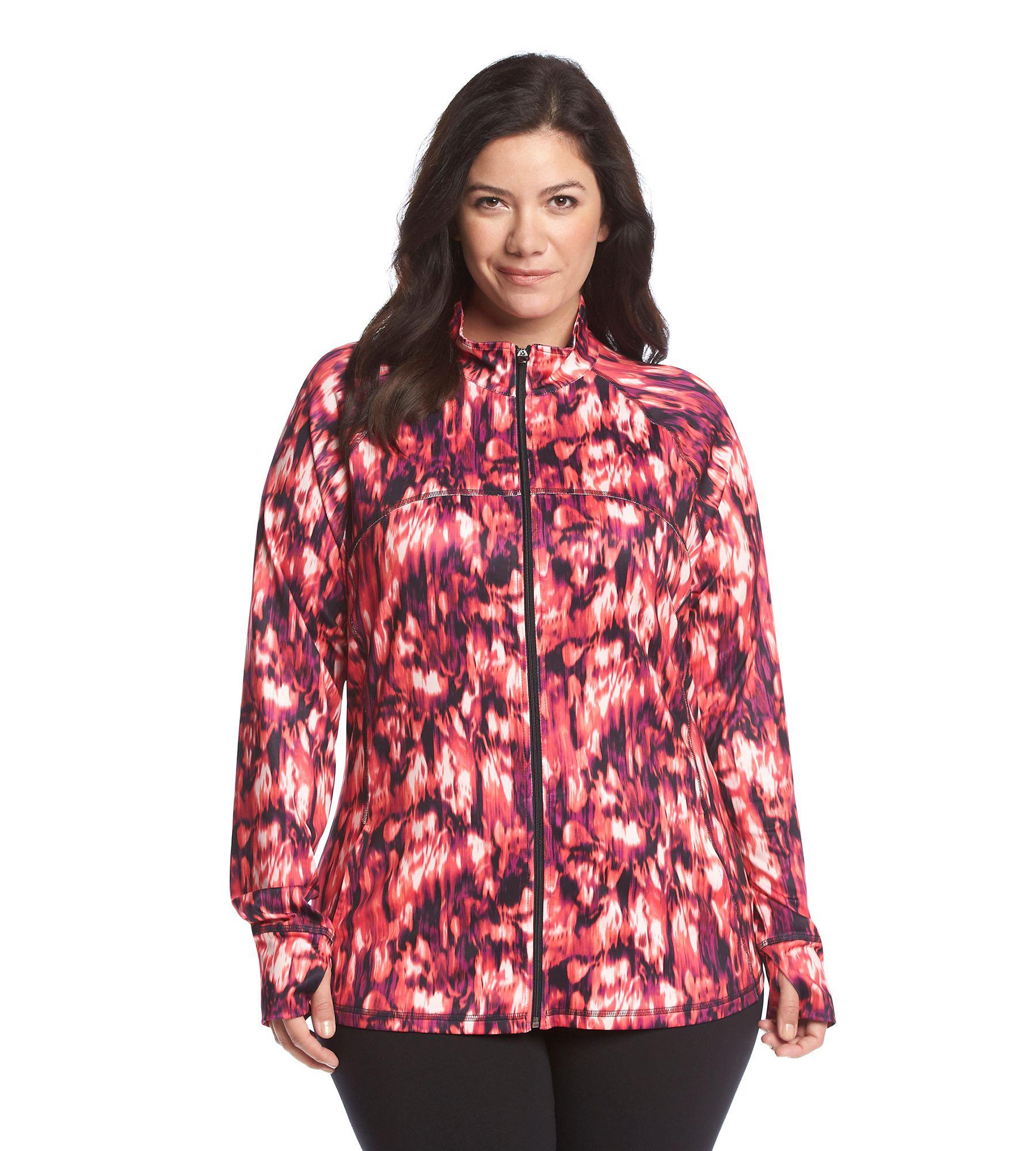 c8196f093d1dd Exertek® Plus Size Smear Zip Up Jacket
