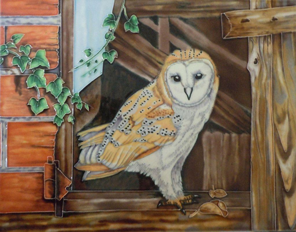 Barn Owl Decorative Ceramic Tile By Hilary Mayes Decorative
