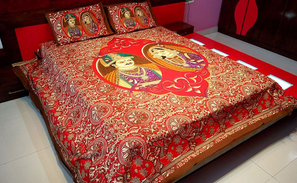 indian bedroom furniture catalogue%0A Indian Cotton Bedsheet Traditional Digital Print Double Bed Sheet   Pillow  Cover u