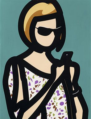 Julian Opie, Tourist with blouse. From Tourists, 2014. A set of six screenprints with hand painting in frames specified by the artist, 104.8 x 78.7 x 3.5 cm. Edition of 20.