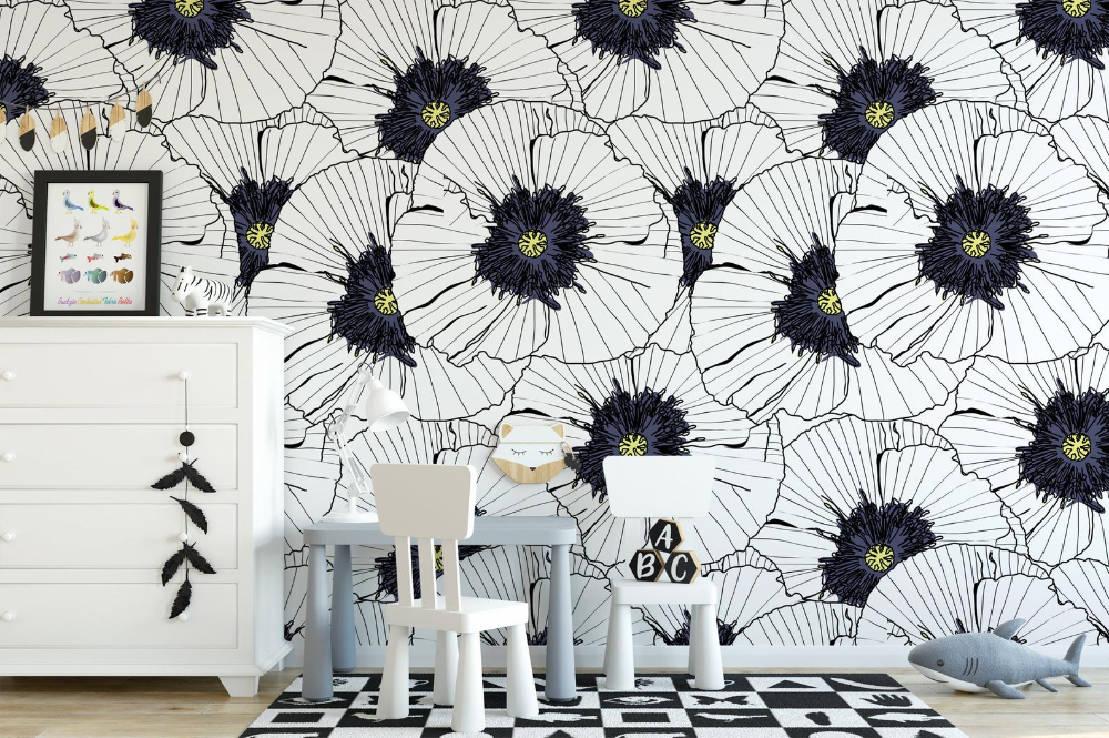 Black White Floral Removable Wallpaper Peel And Stick Etsy Removable Wallpaper Wall Murals Textured Wall