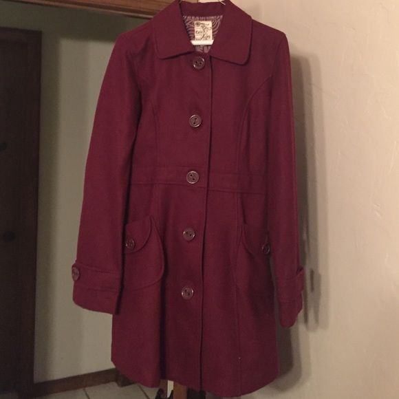 Tulle Maroon Peacoat Maroon/burgundy color. Perfect condition long Peacoat worn one or two times to church. Wool material. Size medium. Tulle Jackets & Coats Pea Coats