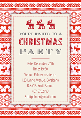 Downloadable Christmas Party Invitations Templates Free Inspiration Sweaters Pattern  Free Printable Christmas Invitation Template .
