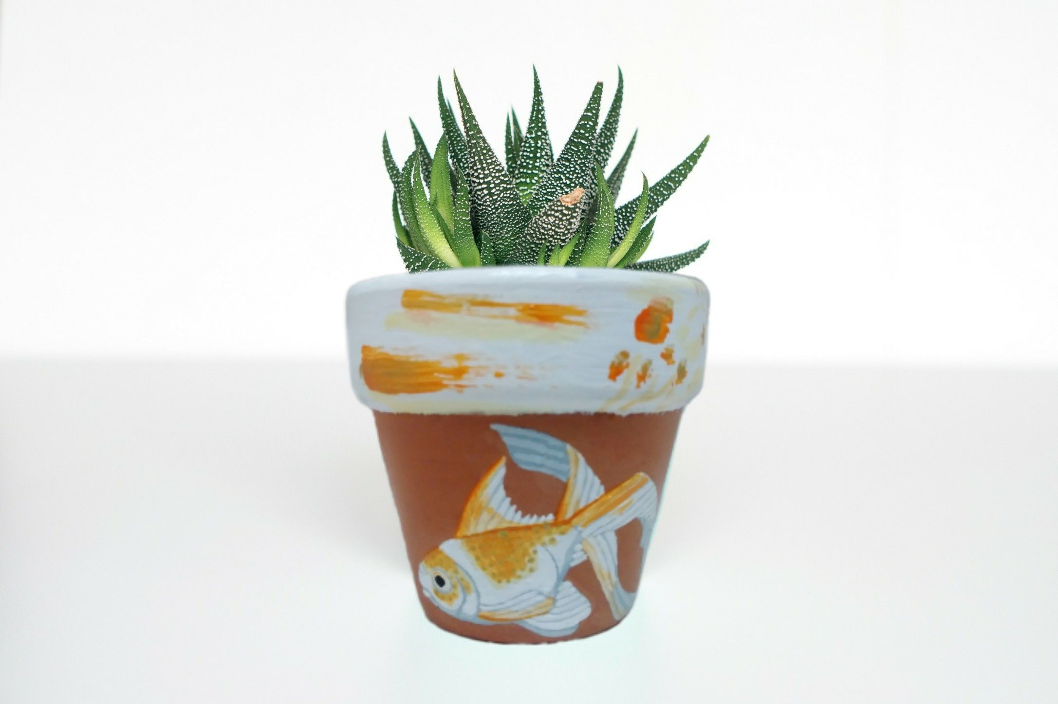 Hand Painted 2 Inch Fantail Goldfish Terra Cotta Flower Pot Fantail Goldfish Flower Pot Decorative Flower Pot Painted Flower Pots Fantail Goldfish Flower Pots