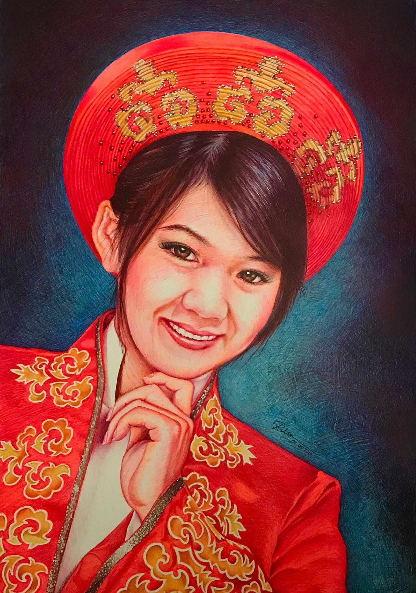 My wife Marie, in very striking red Vietnamese traditional