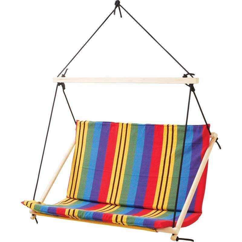 Club Fun Double-Wide Cotton and Polyester Hanging Rope Chair Multi-Colo SPSWGDBL #ClubFun