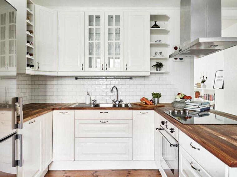 cucine ikea, piano di lavoro in legno, scaffali a vista, cappa ...