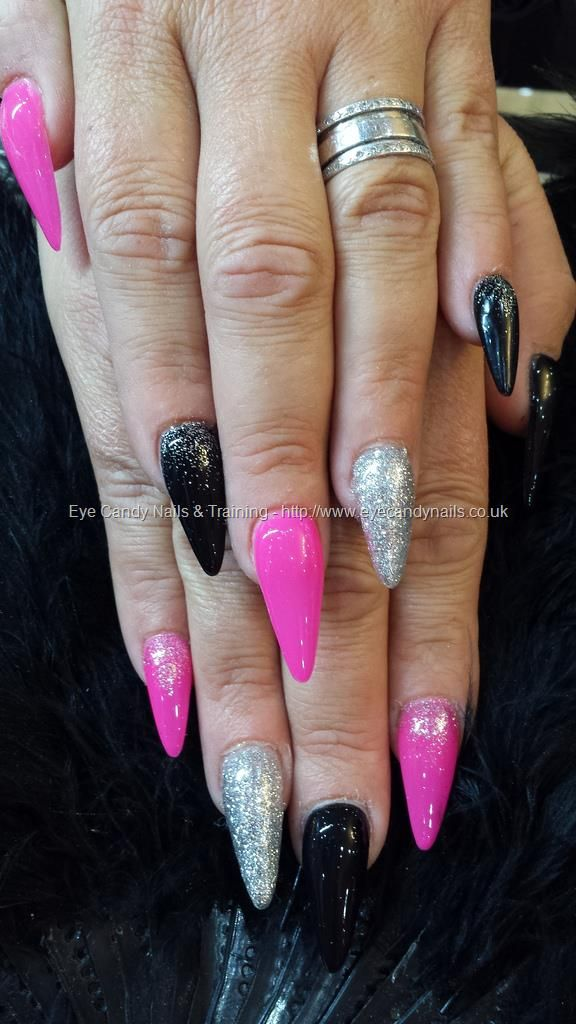 Stiletto Nails With Pink Black And Silver Nail Art Silver Nails
