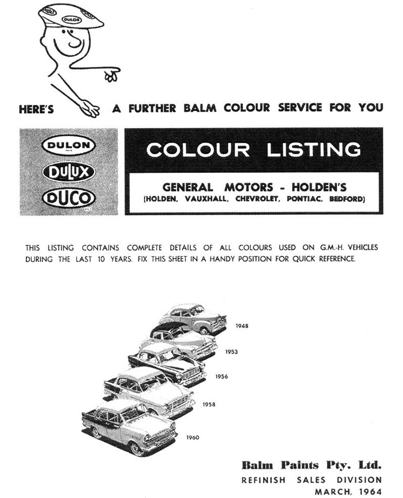 1960 Holden Paint and Color Codes | GMH | Paint charts