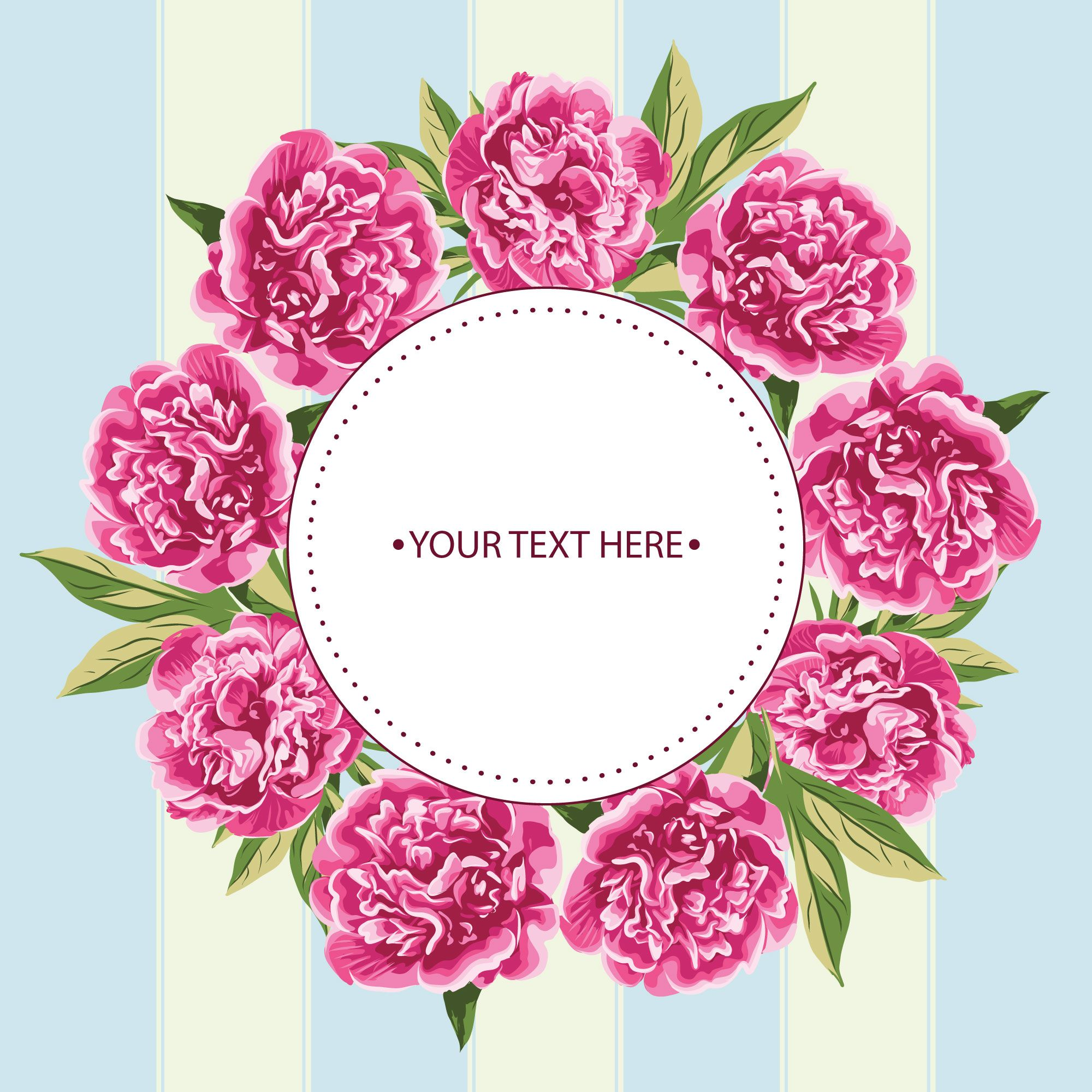 Vector Peony Flowers Vintage Postcard Template Etiquetas Para