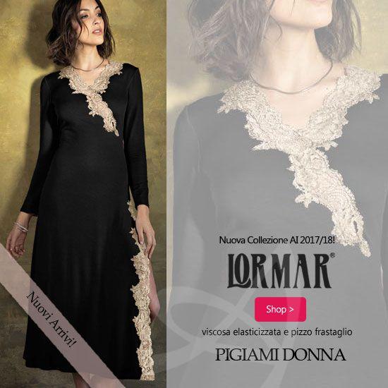 ae3da11daf Per la serie Louvre di Lormar il pizzo frastaglio è inserito per pigiama e  camicia da notte come una cornice! Si amalgama perfettamente creando linee  ...
