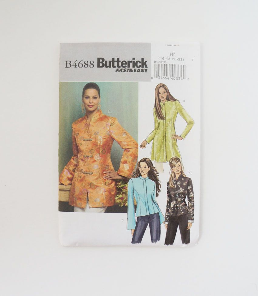 Butterick B4688 Womens Jacket Paper Sewing Pattern Size 16, 18, 20 ...