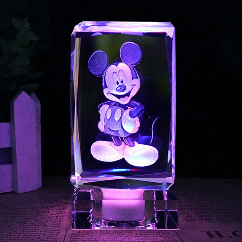 Colorful 3d Laser Engraved Cube Mickey Gifts Crystal Craft With Led Lights Decoration Light Decorations Crystal Crafts Laser Engraving