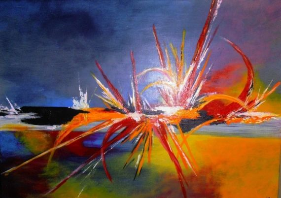 Tableau peinture art acrylique abstrait moderne